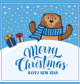 merry christmas greeting card with monkey vector image
