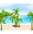 Nature scene with coconut trees on beach vector image