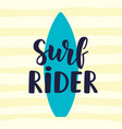 surf rider poster in retro style vector image