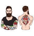 Tattooed Man Character Set vector image