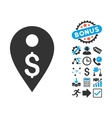Dollar Map Marker Flat Icon with Bonus vector image