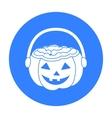Halloween bucket icon in black style isolated on vector image