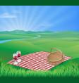 picnic in beautiful rural scene vector image