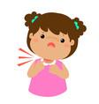 Sick girl sore throat cartoon vector image