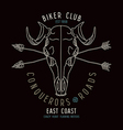 Skull animal biker club emblem vector image