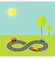 Background with road infinity sign cartoon cars vector image