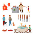 barbecue party icon set vector image