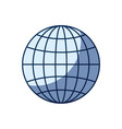 blue color silhouette shading of front view globe vector image
