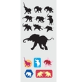 Elephant running silhouettes vector image