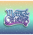 greeting card with lettering merry christmas vector image