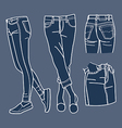Hand drawn fashion Collection of girls jeans vector image