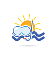 sun icon with dive mask color vector image