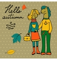 Hello autumn elegant card with cute horse couple vector image vector image