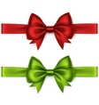 Set of Red Green Bows and Ribbons on Background vector image