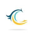 Bird silhouette logo template C letter vector image