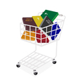 Colorful Holy Bibles in A Shopping Cart vector image