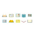 open book icon set flat style vector image