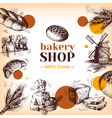 Vintage bakery sketch background Sketch hand drawn vector image