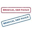 Brasilia Sao Paulo Rubber Stamps vector image