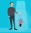 hands of man control puppet concept of leadership vector image