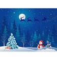 Santa sleigh and greeting snowman vector image
