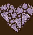 Grapes with leaves in the form of heart vector image vector image