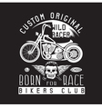 wild racer vintage print with motorcycle wings and vector image