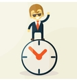 Businessman with time business concept in busy and vector image