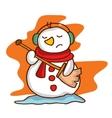 Cartoon snowman with headphone happy vector image