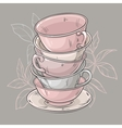 cups on grey background vector image