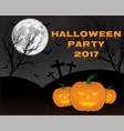 halloween pumpkins on blue moon background vector image