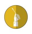 hand holding screwdriver tool repair-yellow circle vector image