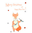 merry christmas greeting card with cute xmas fox vector image