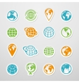 Sticker Globe Icons vector image