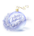 Realistic transparent blue Christmas ball with vector image