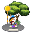 A street with a female skateboarder vector image vector image