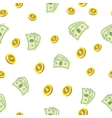 Seamless texture with golden coins money vector image