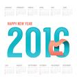 2016 Calendar colorful happy new year design vector image vector image