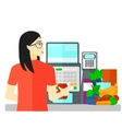 Cashier at supermarket checkout vector image