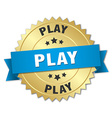 play 3d gold badge with blue ribbon vector image