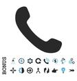 Phone Receiver Flat Icon With Bonus vector image