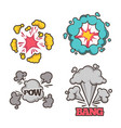 bang cartoon effect with small explosion and vector image