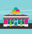 facade of ice cream shop flat vector image