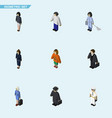 isometric person set of detective seaman vector image