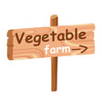 wood plaque with direction index to vegetable farm vector image