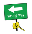 wrong way signboard green vector image