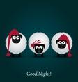 Three cute cartoon sheeps in hats Good night vector image