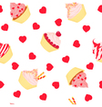 Cakes seamless pattern on white background vector image vector image