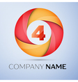 Four number colorful logo in the circle template vector image
