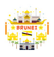brunei travel and attraction label vector image